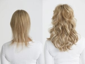 before and after on how to apply hair extensions in short hair Euro Collection virgin hair
